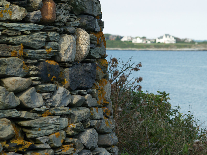 Stone wall along the Cliff Walk, Newport