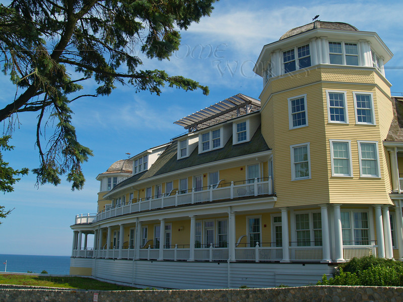 """Side view of  """"The Ocean House"""" , a grand old Victorian hotel in Watch Hill, RI"""