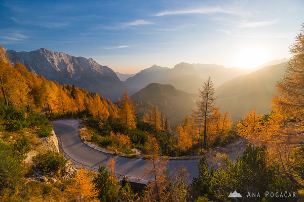 Glorious late afternoon light on the road to the Mangart pass