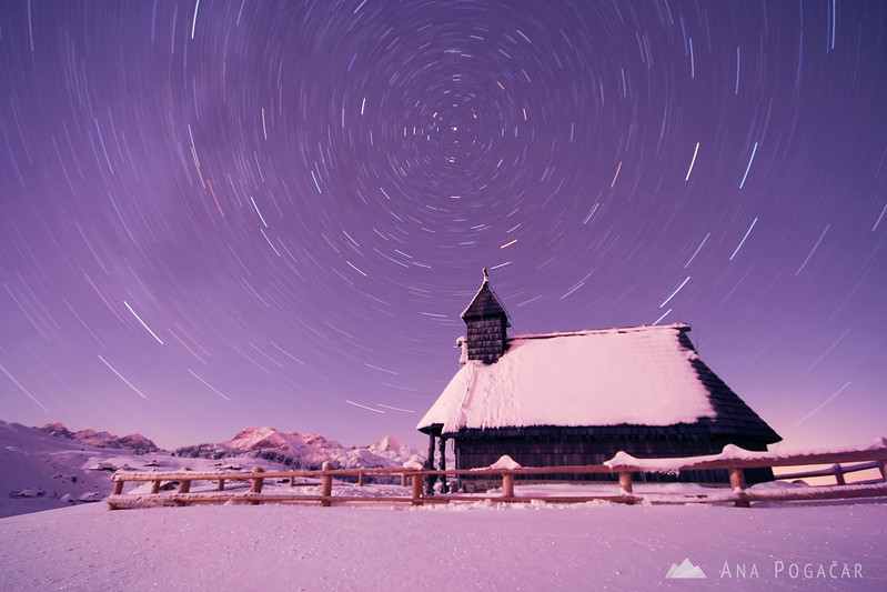 Velika planina in winter: star trails