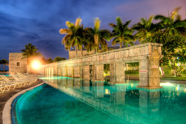 """The Sugar Mill Pool, with a 60-foot-high stone tower and """"quiet"""" section with an adjacent 10-person spa tub."""
