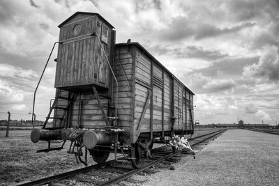 A carriage modelled after those used to transport victims to Birkenau.  The main entrance to Birkenau, known as the Death Gate, looms in the background.