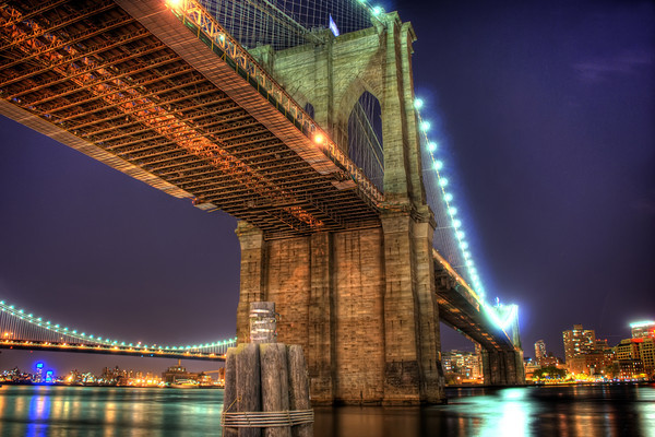The Brooklyn Bridge, one of the oldest suspension bridges in the United States, stretches 5,989 feet (1825 m) over the East River connecting the New York City boroughs of Manhattan and Brooklyn. On completion, it was the largest suspension bridge in the world and the first steel-wire suspension bridge. Originally referred to as the New York and Brooklyn Bridge, it was dubbed the Brooklyn Bridge in an 1867 letter to the editor of the Brooklyn Daily Eagle. Since its opening, it has become an iconic part of the New York skyline. In 1964 it was designated a National Historic Landmark.
