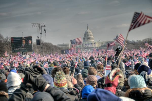 Just finishing up his inauguration speech.
