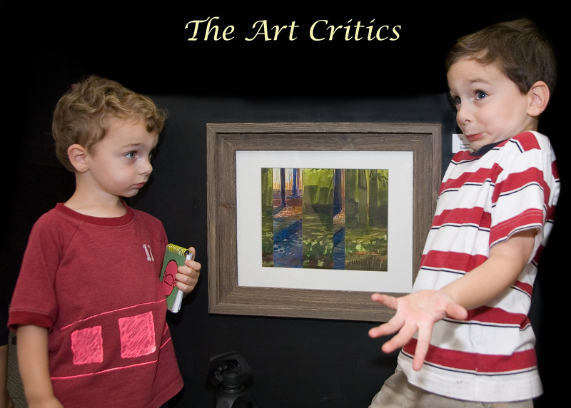Jane Walsh Art Show at Orchid Gallery<br /> Art critic Nathan Schaefer of Bethesda is baffled by the picture as his brother, Jake, has a notebook ready to copy pictures he likes.