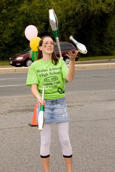 WJ High School 50th Anniversary: Cheerleader Emily Hickey juggles.