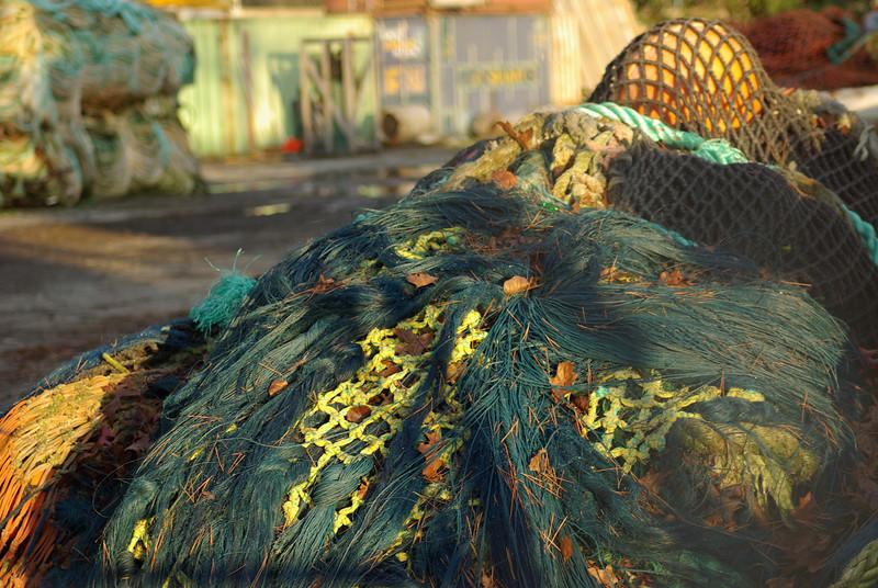 piled fishing nets. Seattle, Washington