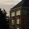 University of Washington academic building at sunrise.