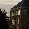 University of Washington academic building at sunrise.
