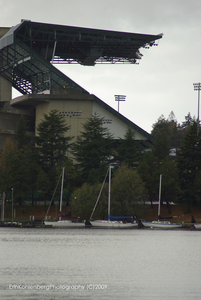 Husky Stadium from Marsh Island. Empty and waiting for action!