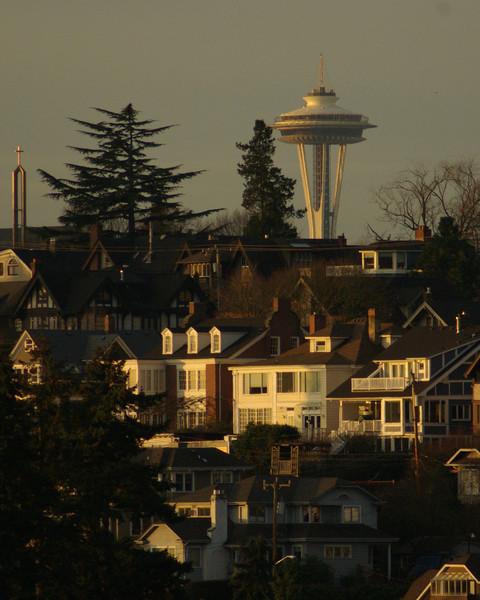 Space Needle from the University of Washington campus at sunrise.
