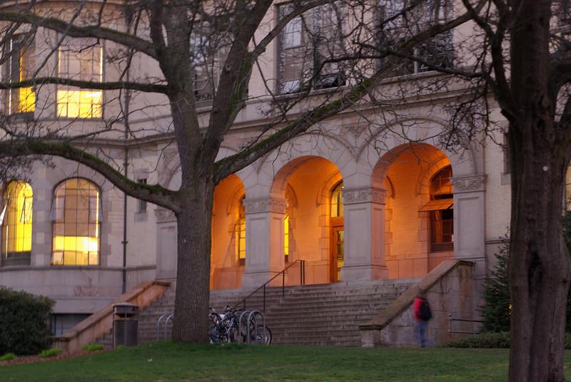 Denny Hall  entrance at dusk, University of Washington campus, Seattle, Washington.