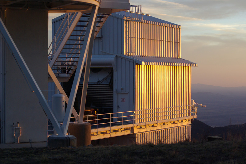 """2.5 meter telescope at Apache Point Observatory, used in the SDSS-III project  <a href=""""http://www.sdss3.org/"""">http://www.sdss3.org/</a>). Sunspot, New Mexico."""