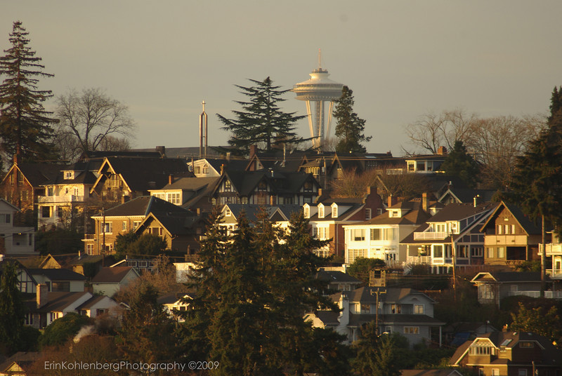 another view of the Space Needle over Capital Hill, Seattle at sunrise.