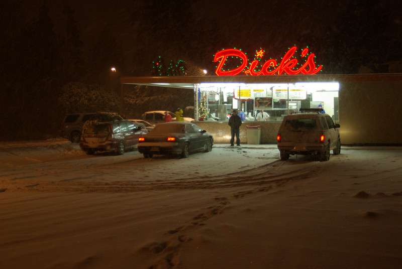 December 2008. it doesn't snow much in Seattle, but this was a doozy of a storm and it was a good time to get out and see the christmas lights in the snow. I'm thankful for my four wheel drive.