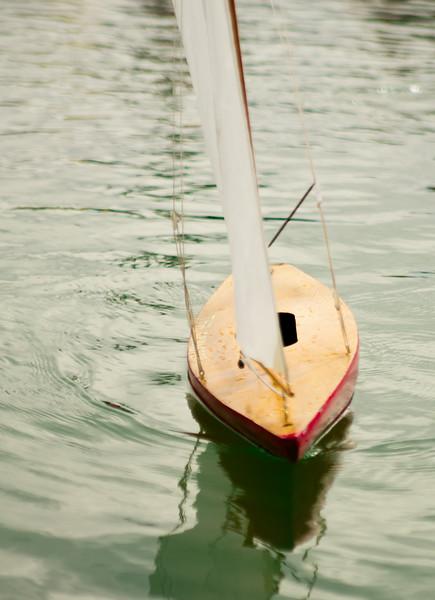 Model boat on model lake