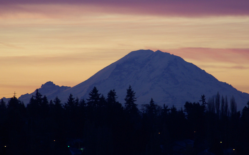 Mt Rainier at sunrise in the late fall.  From my deck in Seattle. Daily photo for 09/13/09.