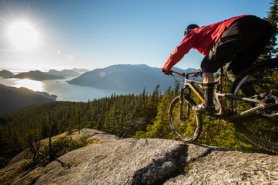 Mountain biking Pretty Slabs trail, Brittania, Sea to Sky British Colombia, Canada