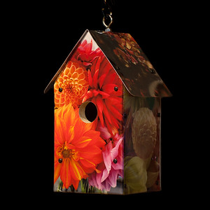 Red Blooms Birdhouse