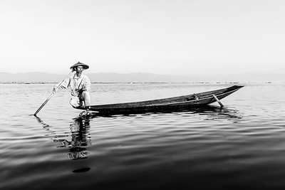 Fisherman at Inle Lake 5 (B&W)