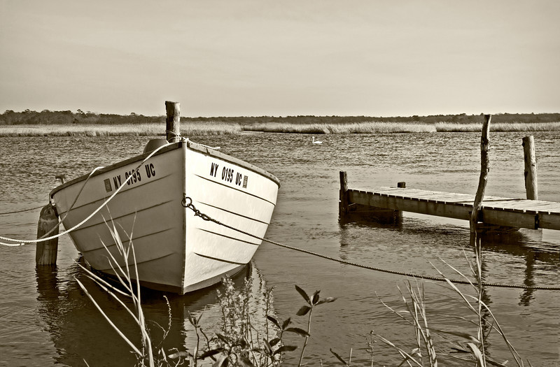 Rowboat on Carmens River, Bellport in sepia