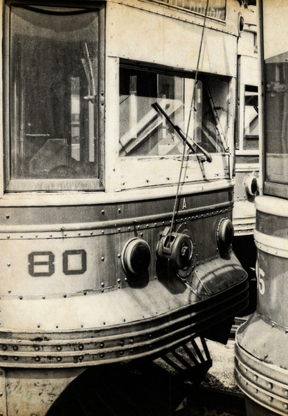"""1968 Trolleys Parked at the 69th St Terminal - 5<br /> The Media - 69th St """"Red Arrow"""" trolley was like the gateway to Philadelphia, when I was growing up.  Sometimes it was to the doctor, on 69th St, and sometimes it was to transfer to the """"El"""" (for Elevated Train) to go to downtown Philadelphia - Wanamakers, Strawbridge & Clothier, Gimbels, Lits. The line still runs as SEPTA 101. In Media, the trolleys still run on a single track, in the middle of State St. It's alleged that Media is the only town in the United States to have a trolley running down the middle of its main street."""