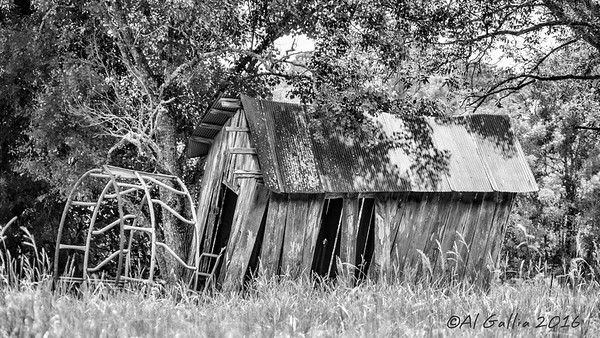 "©Al Gallia; ""Not Much Longer""; Poor little building having such difficulty standing...sort of like aging folks. Hwy 42 in Livingston Parish."