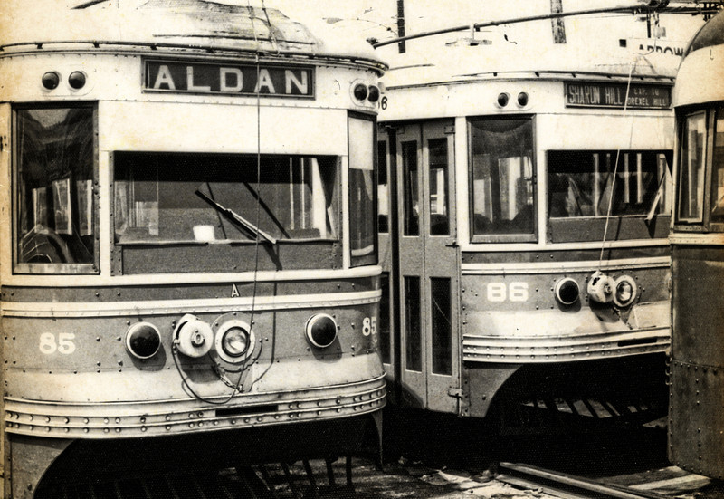 "1968 Trolleys Parked at the 69th St Terminal - 6<br /> The Media - 69th St ""Red Arrow"" trolley was like the gateway to Philadelphia, when I was growing up.  Sometimes it was to the doctor, on 69th St, and sometimes it was to transfer to the ""El"" (for Elevated Train) to go to downtown Philadelphia - Wanamakers, Strawbridge & Clothier, Gimbels, Lits. The line still runs as SEPTA 101. In Media, the trolleys still run on a single track, in the middle of State St. It's alleged that Media is the only town in the United States to have a trolley running down the middle of its main street."