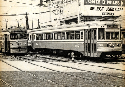 "1968 Trolleys Parked at the 69th St Terminal - 1 The Media - 69th St ""Red Arrow"" trolley was like the gateway to Philadelphia, when I was growing up.  Sometimes it was to the doctor, on 69th St, and sometimes it was to transfer to the ""El"" (for Elevated Train) to go to downtown Philadelphia - Wanamakers, Strawbridge & Clothier, Gimbels, Lits. The line still runs as SEPTA 101. In Media, the trolleys still run on a single track, in the middle of State St. It's alleged that Media is the only town in the United States to have a trolley running down the middle of its main street."