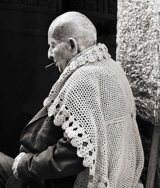 Old man sitting,  Italy