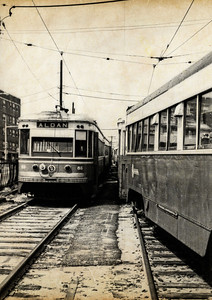 "1968 Trolleys Parked at the 69th St Terminal - 3 The Media - 69th St ""Red Arrow"" trolley was like the gateway to Philadelphia, when I was growing up.  Sometimes it was to the doctor, on 69th St, and sometimes it was to transfer to the ""El"" (for Elevated Train) to go to downtown Philadelphia - Wanamakers, Strawbridge & Clothier, Gimbels, Lits. The line still runs as SEPTA 101. In Media, the trolleys still run on a single track, in the middle of State St. It's alleged that Media is the only town in the United States to have a trolley running down the middle of its main street."