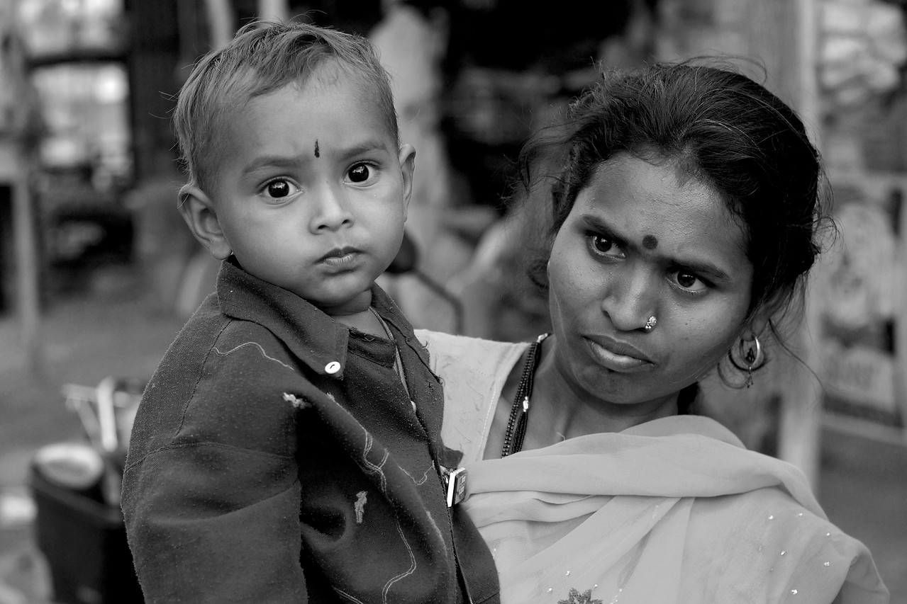 Mother & Son in a village near Nagpur, India.