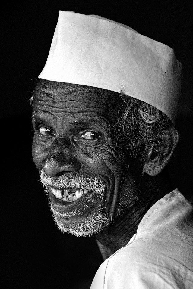 Portrait of an old farmer in a village in rural India in the state of Maharashtra.
