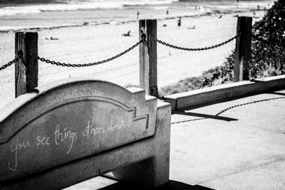 """I See Things""  Seeing is believing what our eyes find. Finding and discovering new and interesting things about the world around us. A bench in Pacific Beach, San Diego, California."