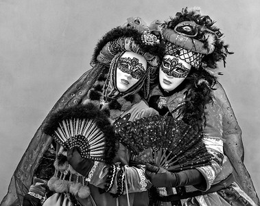 Venetian Carnival duo in B & W