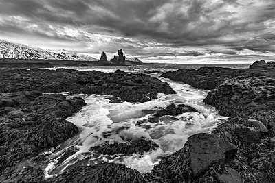 Londragur Sea Stacks from afar in B & W