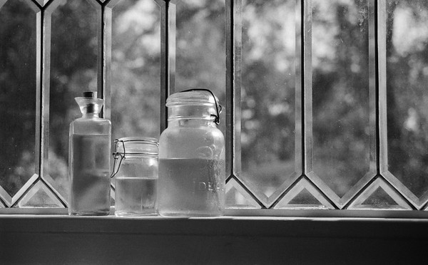 Jars In Window, 35 mm Black & White