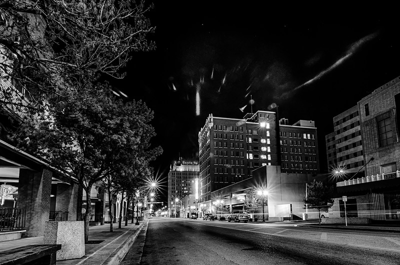 April 2015 - streets of amarillo texas city skyline at night