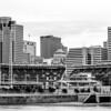 Cincinnati skyline on cloudy day