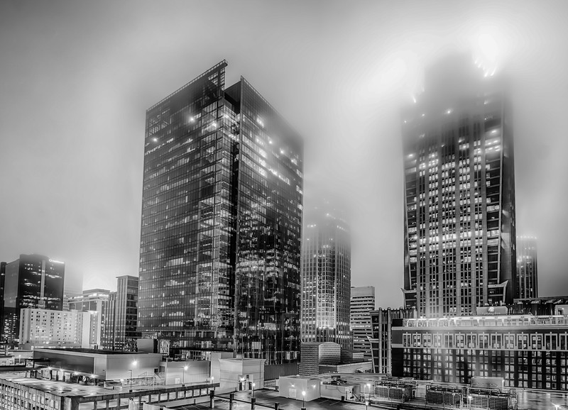 charlotte city skyline night scene in fog