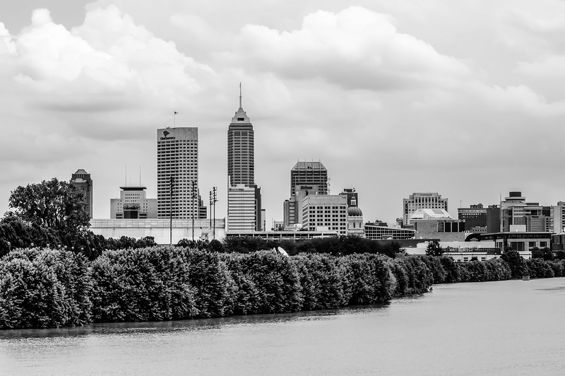 Indianapolis skyline across river