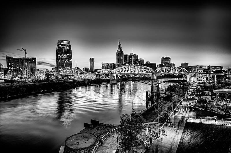 Nashville Tennessee downtown skyline at Shelby Street Bridge