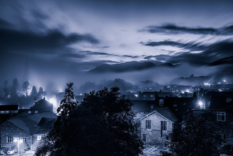 View from Lakes Lodge in Ambleside with the evening mist rolling in.