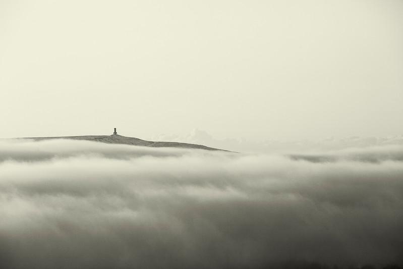 Jubilee Tower, Darwen, Lancashire poking through the low clouds.
