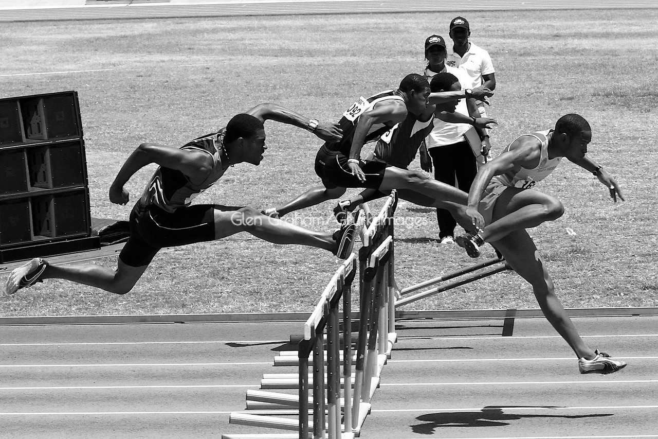"""Boyz in Motion"" - High school boys track & field meet in Kingston, Jamaica - March 2010<br /> Finalist in the Carolina Gallery Photography Invitational - 2010. Gallery is located at 145 West Main Street, Spartanburg, S.C 29306"