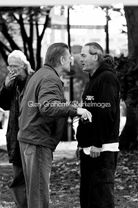 A heated standoff between an Occupy Charlotte demonstrator (on the right) and an Anti-abortionist. The anti-abortionists descended on the Occupy grounds to steal the spotlight. Needles to say the cops had to intervene. Freedom of speech is so much fun.
