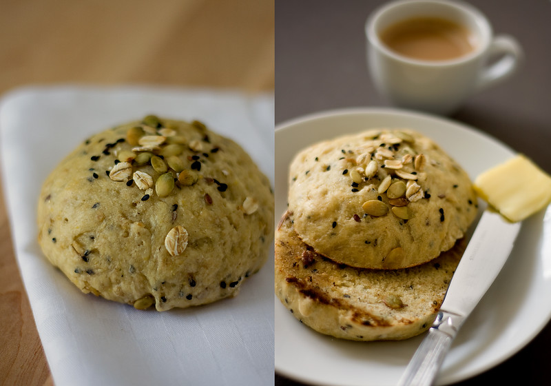 Oatmeal seeded rolls.