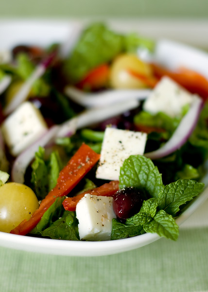 Horiatiki Salad - Greek summer salad. Made with vegetables, olives and feta cheese.