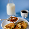 Starting the day on savory note - Corn pancakes with gazpacho salsa