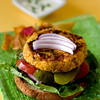 Vegetarian burger made with millet, sprouted chickpeas, sunflower seeds and vegetables. Served with mint-yogurt and vegetable chips.